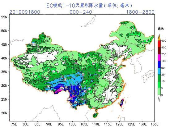ECMWF模式10天降水分析显示,未来十天上述几省降水稀少
