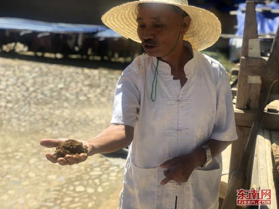 客家土楼营造技艺市级代表性传承人张民泰向游客讲解土楼夯土。江峰 摄