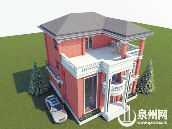设计方案之一《三间张红砖番仔楼》