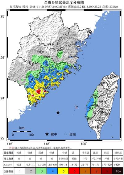 (台湾海峡6.2级地震福建乡镇仪器烈度分布图)