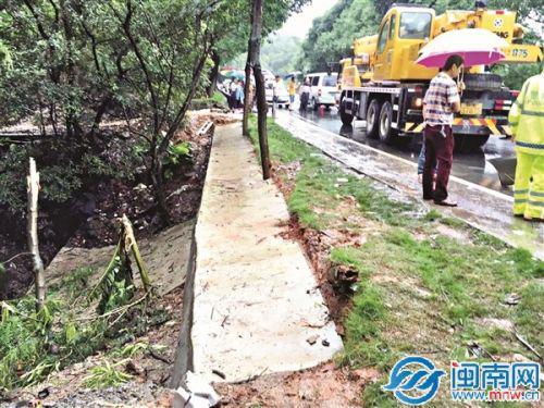 事故现场,靠涵洞排水沟一侧没设防护栏