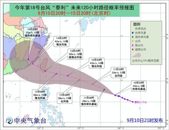 """今年第18号台风""""泰利""""未来120小时路径概率预报图"""