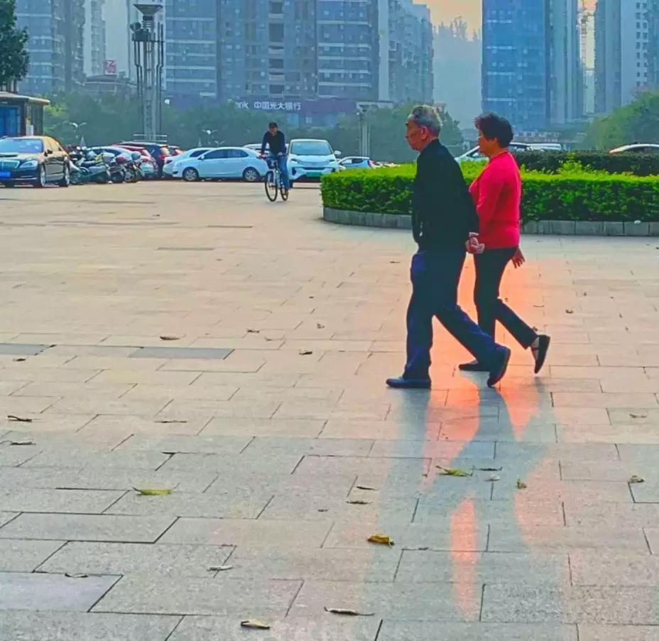 两老人手牵手散步|老藤 摄