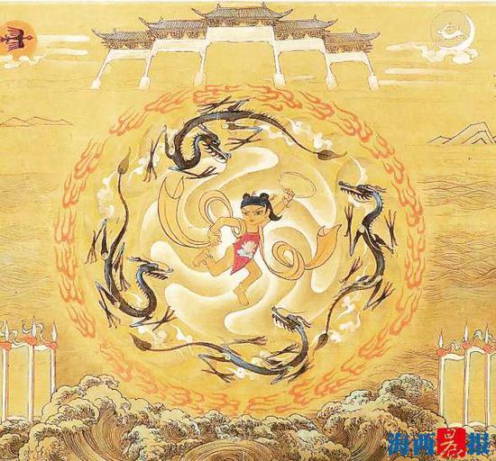 张仃《哪吒闹海》壁画手稿局部图。