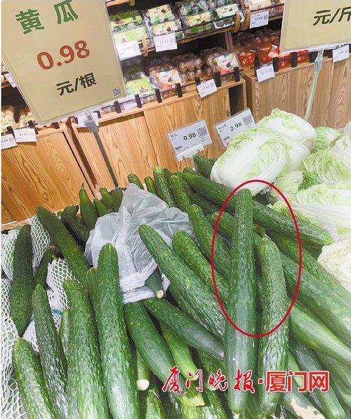 ■按根卖的黄瓜大小并不一致,如圆圈中这两根个头相差较大。