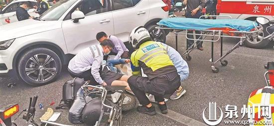 泉州:误将油门当刹车男子撞伤人 警医合作伤者及时就医