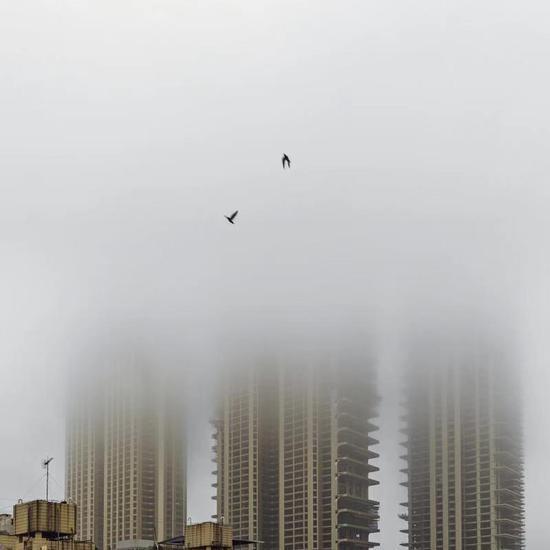 元宵清晨,鹭岛迎喜雨并现大雾。拍摄于今天早上,地点在?#20351;?#36335;与湖滨?#19979;方?#21449;路口处。林旭东摄