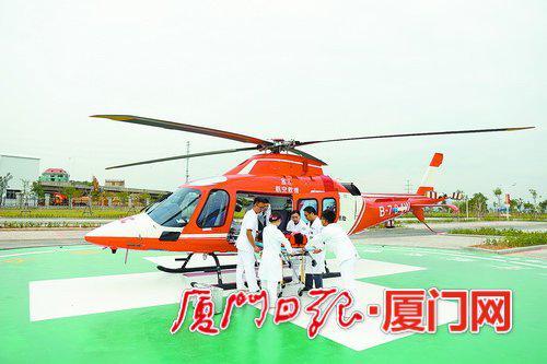 厦大附属翔安医院的直升机起降坪打通了空中救援通道。
