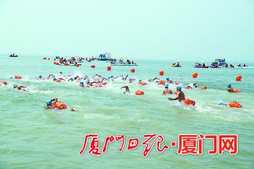 """两岸""""泳士""""将再次横渡厦金海峡。图为去年的比赛现场。(本报资料图/本报记者 路鹏宇 摄)"""
