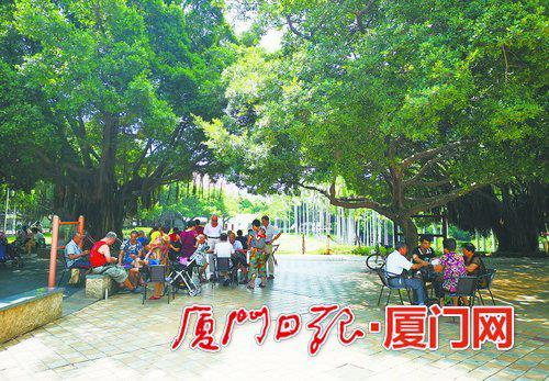 昨日厦门天气晴朗凉爽,图为市民在公园休闲娱乐。(本报记者 吴尔婷 摄)