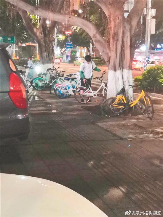 叶建琨在扶共享单车 (家属偷伯的图片)