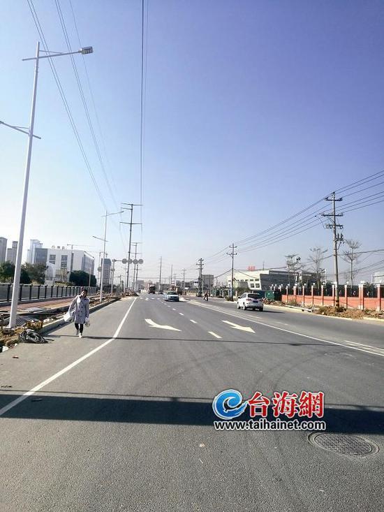 ▲龙池大道金山段交通指示线已经划好