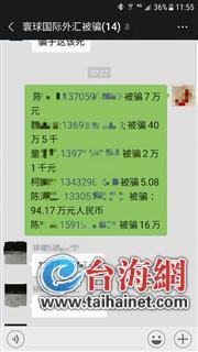 """▲""""寰球国际外汇被骗""""微信群一些群员的被骗金额,最高达90多万"""