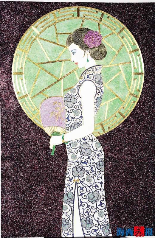 蔡氏漆线雕作品《中华之美》