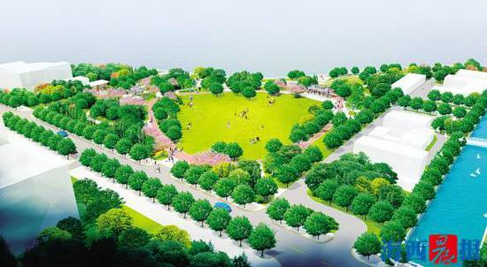 园林花木城拆迁后,原址将规划建设南湖公园西园。图为效果图。