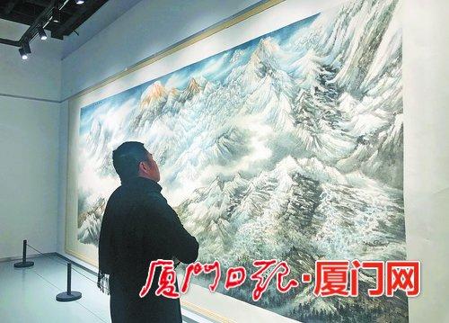"""在画作中""""遇见""""珠峰 画家林良丰于湖里举办山水画展"""