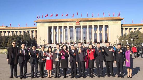 """参加""""全国两会""""的政协台联界别委员和台湾团代表在人民大会堂前合影留念。"""