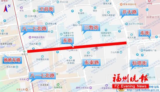 14日凌晨东街临时交通管制示意图。