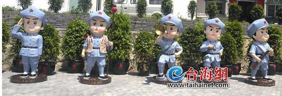 ▼景区的卡通红军雕塑