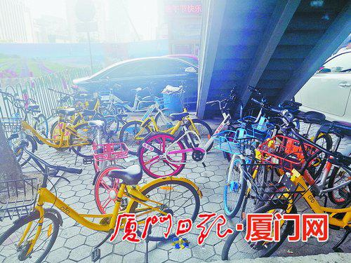 湖滨南路莲坂外图附近天桥下的共享单车乱象。