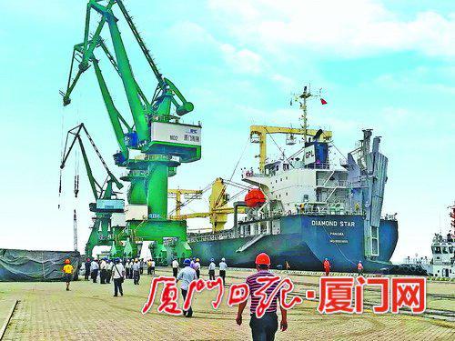 """海翔码头在试运营阶段曾接待巴拿马籍""""钻石之星""""轮。(资料图/林宇舟 摄)"""