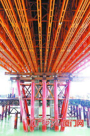 南港特大桥采用421组合式桁架梁技术。