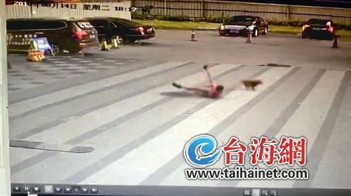 ◆视频显示,小男孩被一只小狗扑倒