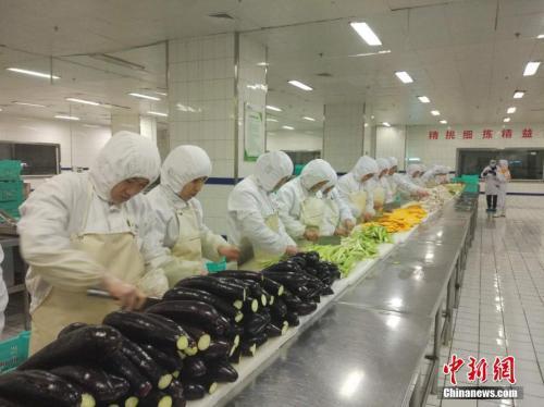 图为蔬菜加工车间。中新网记者 张尼摄