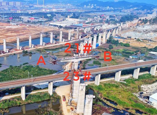 """福建首座铁路转体桥""""转身"""" 跨越温福高铁营业线"""
