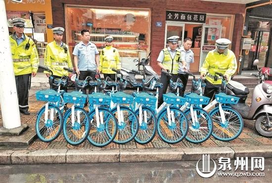 随意摆放共享单车经营,占用城区人行道等公共空间。
