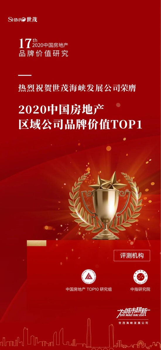 世茂海峡荣获品牌价值TOP1,优质品牌提升市场竞争力