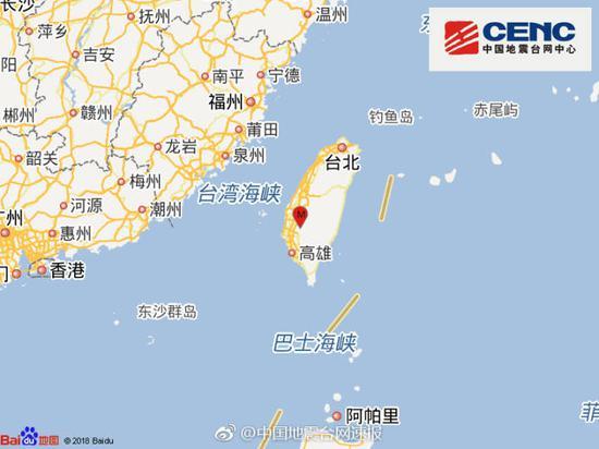 台湾台南市发生5.1级地震
