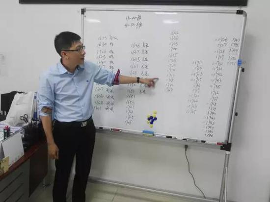"""海纳机械董事长洪奕元在他最钟爱的办公室白板上记录订单与增长情况,今年的订单同比增长超过50%。""""王雄 摄"""