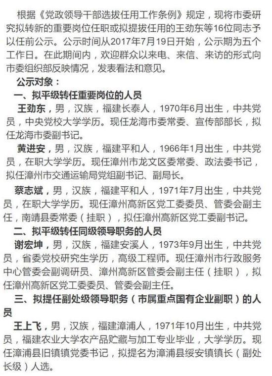 漳州16位干部任前公示 涉及多个重要岗位