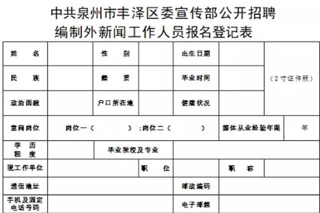 泉州丰泽区公开招聘编外新闻工作人员 即日起开始报名