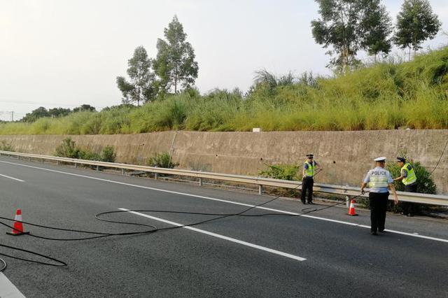漳州:电缆掉落高速路上,执法人员紧急排险