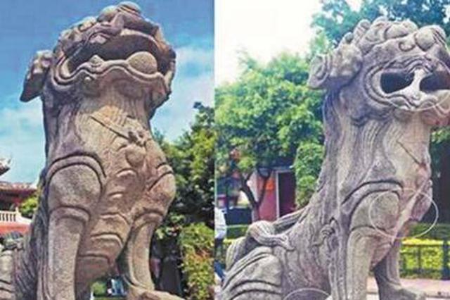 """威远楼前百年石狮被人损坏 擅自进行""""修补""""嫌犯落网"""
