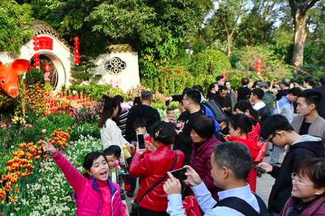 春节假期福州各大公园景区游人如织 花鸟相映美如画