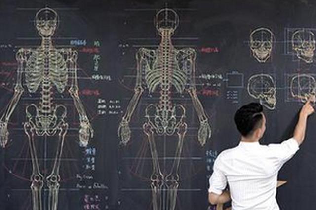 """网红""""画师""""跨海又跨界 徒手绘人体骨骼图(图)"""