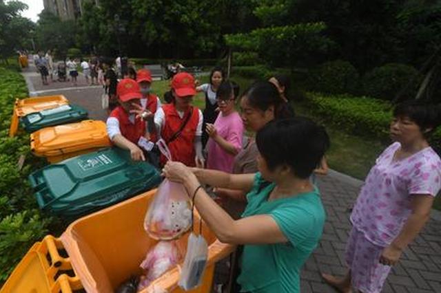 福州倉山舉行垃圾分類活動 垃圾換蔬菜吸引市民參與