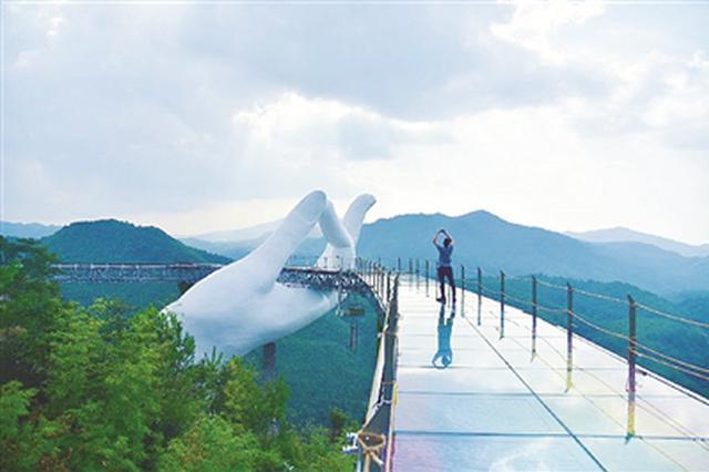 全国首座悬空彩虹仙手桥试开放 位于三明尤溪