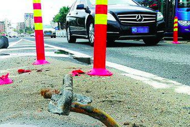"""厦门滨海西大道一限高架""""很受伤"""" 三年被撞近30次"""