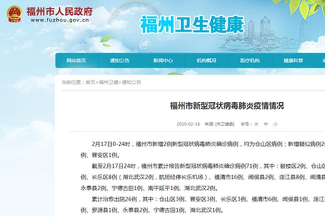 福州市新增2例新型冠状病毒肺炎确诊病例