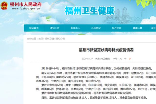 2月26日福州市新增1例新型冠状病毒肺炎确诊病例