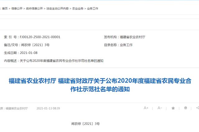156家上榜!2020年福建农民专业合作社示范社公布
