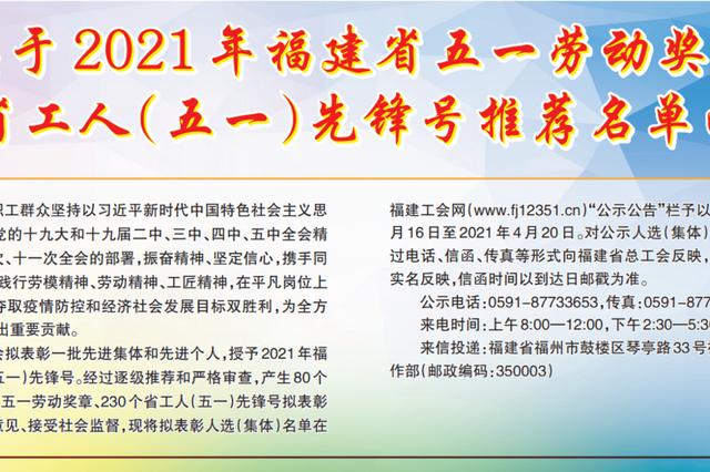 2021福建五一劳动奖和工人先锋号推荐名单公示