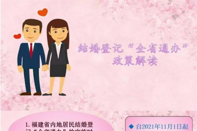 福建省内地居民婚姻登记将全省通办
