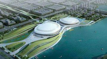 晋江第二体育中心三场馆主体结构完成