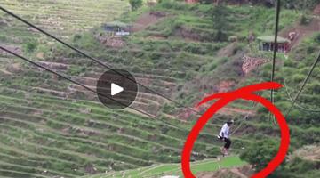 泉州:男子被困近百米高空索道