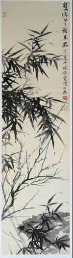 萧峰作品《双清日日报平安》(纵:136厘米 横:34厘米)